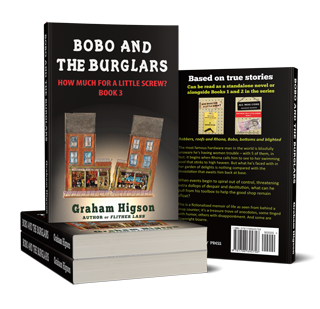 Bobo and the Burglars, stacked paperbacks