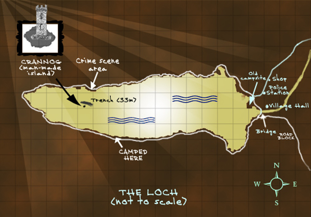 map of                 the Scottish loch, where part of the story is set