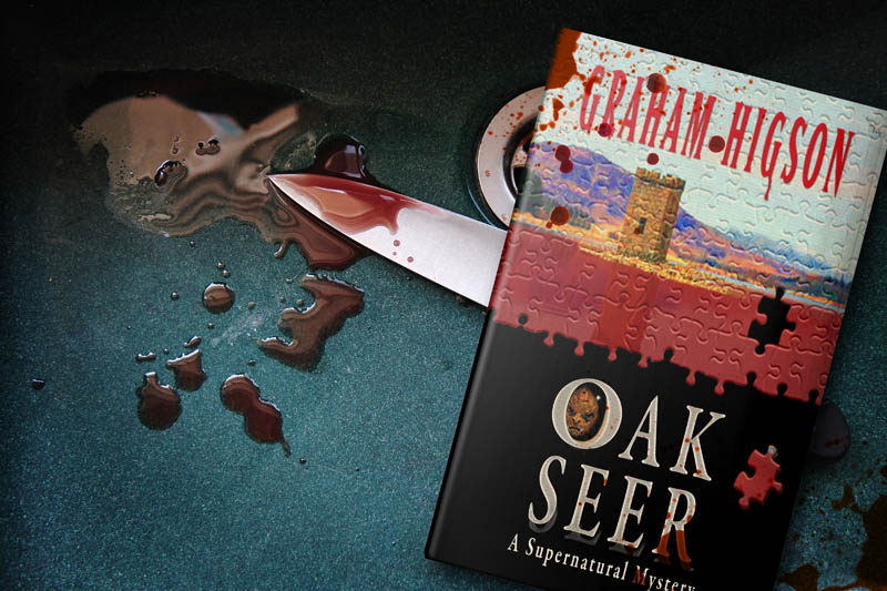 Book in sink with blood